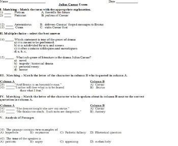 Julius Caesar Multiple Choice Exam