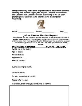 Julius Caesar Murder Report