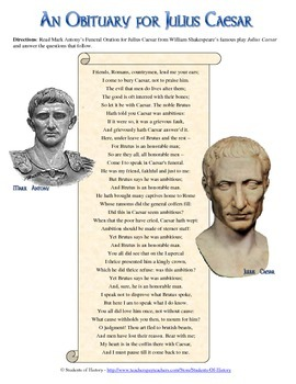 an introduction to the literary analysis of antony in julius caesar by william shakespeare These julius caesar quotes with analysis will help you look smart  run into a section in a shakespeare play you don't quite understand  analysis: antony .