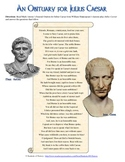 Julius Caesar Obituary & Shakespeare Analysis Worksheet