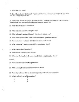 Julius Caesar Play Close Reading Questions for Acts I, II, III