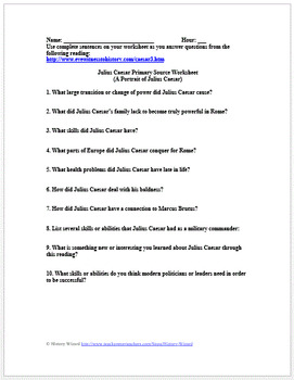 Julius Caesar Primary Source Worksheet (A Portrait of Julius Caesar)