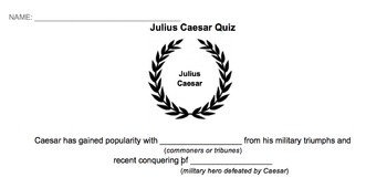 Julius Caesar Quiz - Acts I and II