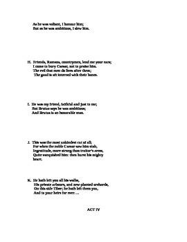 Julius Caesar  Quotation Test - Acts III - V
