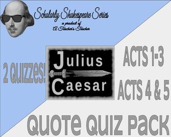 Julius Caesar Quote Quiz Bundle Pack w/ Differentiation -