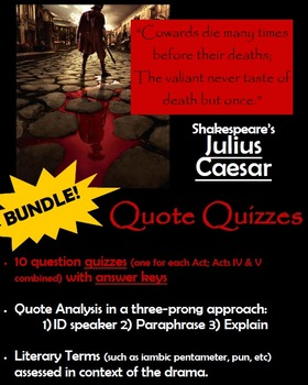 Julius Caesar - Quote Quizzes by Act