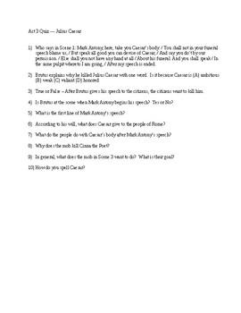 Julius Caesar Reading Check Quiz Act 3