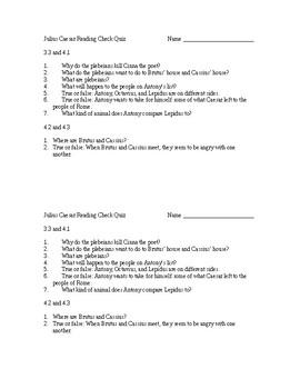 Julius Caesar Reading Check Quiz Act 3 Scene 3 Through Act 4 Scene 3