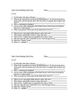 Julius Caesar Reading Check Quiz Act 5 Scenes 1-3