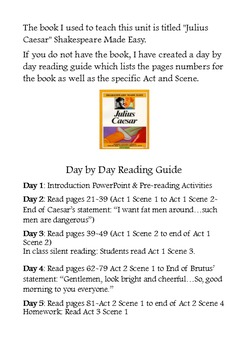 Julius Caesar Reading Guide and Personal Diary Activity