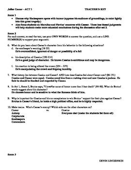 Julius Caesar:  Reading Questions, Discussion, Essay Prompts