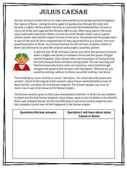 Julius Caesar / Rome Reading & Activity - Julius Caesar & Roman leaders