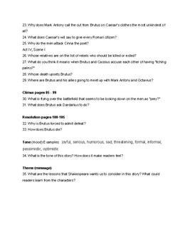 Julius Caesar (Shakespeare) Graphic Novel Guided Reading Questions