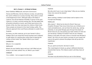 Julius Caesar- Shortened Text in Simple Modern English