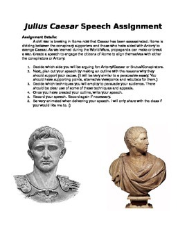 Julius Caesar Speech Assignment