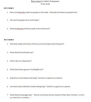 Julius Caesar Study Guide and Key
