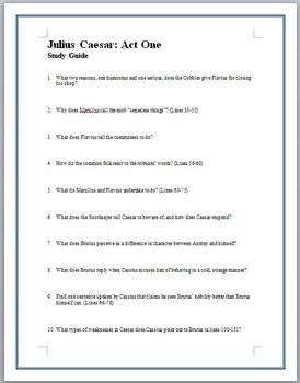 Julius Caesar Study Guides Acts I-V