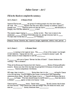 Julius Caesar - Summary as Cloze Test