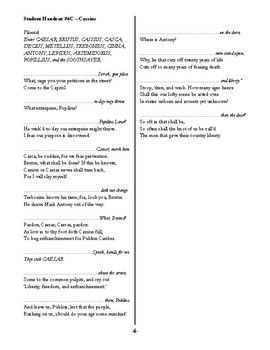 Julius Caesar Teacher's Toolbox: Cue Scripts