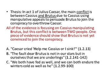 Julius Caesar (Shakespeare) Writing: Thesis and Evidence