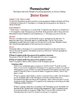 Julius Caesar Trivia Game—132 Questions! Fun for the Whole Class!