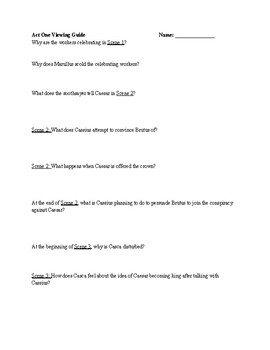 Julius Caesar Viewing Guide or Guided Questions