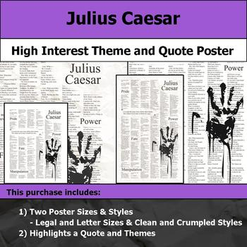 Julius Caesar - Visual Theme and Quote Poster for Bulletin Boards