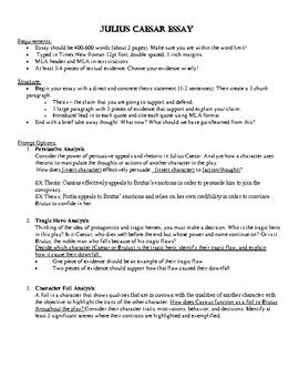 Julius Caesar (Shakespeare) Writing Unit