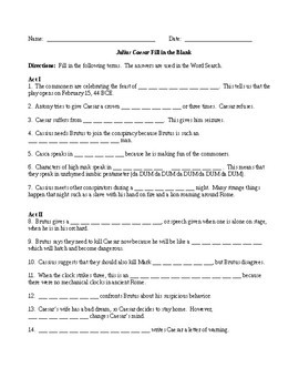 Julius Caesar by Shakespeare Fill in the Blank Review and