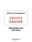 Julius Caesar by Shakespeare: Unit Worksheets, Quizzes, Es