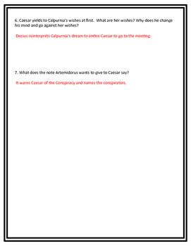 Julius Casear Act II Reading Check Quiz