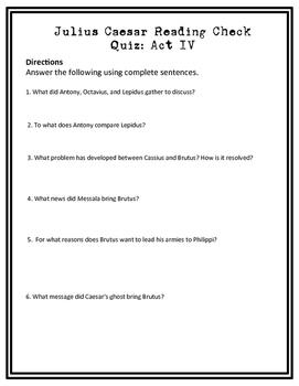 Julius Casear Act IV Reading Check Quiz