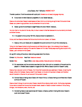 Julius Ceasar Act 1 Releflections, Academic Vocab and Key