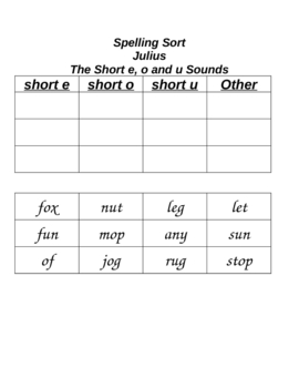Julius Cut and Paste Spelling Word Sort Houghton Mifflin Reading