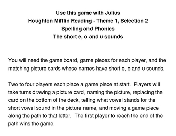 Julius - Literacy Center Game - Houghton MIfflin Reading Grade 2
