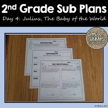 Julius, The Baby of the World 2nd Grade Sub Plans Day 4