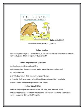 Julius by Syd Hoff for Guided Reading