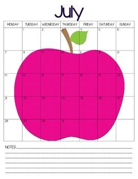 July 2014-July 2015 Calendar