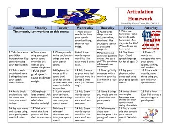 July 2015 Articulation Homework Calendar