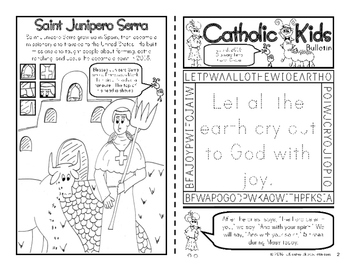 July 2016 Catholic Kids Bulletins: Weekly Mass Activity Pages