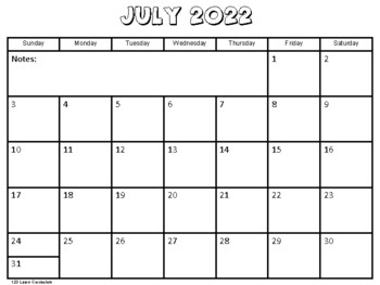 July 2017 Kids Calendar