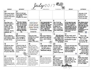 July 2017- Early Learning Calendar