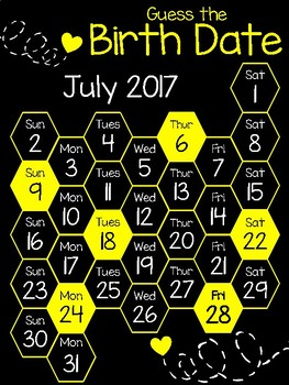 July 2017 Guess the Birth Date Calendar (Black/Yellow)