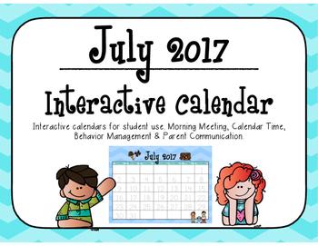 July 2017 Interactive Student Calendar
