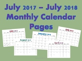 July 2017 - July 2018 Calendar