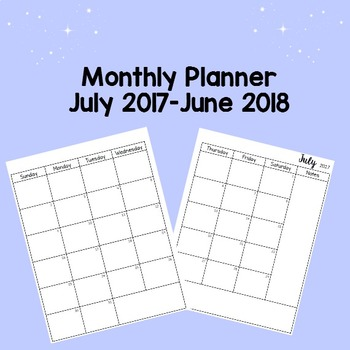 July 2017-June 2018 Printable Monthly Planner