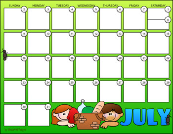 July 2017 Monthly Calendar