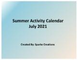 July 2019 Summer Activity Calendar