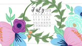 July 2018 Floral Calendar Computer Wallpaper