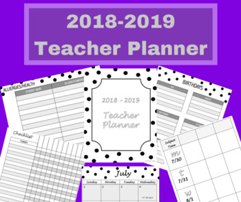 July 2018 - June 2019 Elementary Teacher Planner - Lesson Planning Book